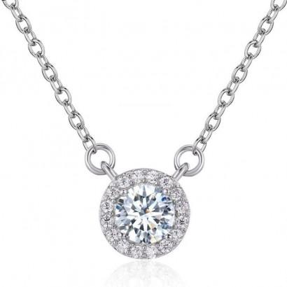 Stříbrný náhrdelník s kulatým čirým kamenem