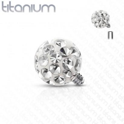 Ozdobná kulička k dermálu TITAN, závit 1,6 mm, barva: čirá (4 mm)