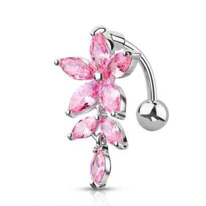 Obrácený piercing do pupíku s kytičkami, růžové zirkony