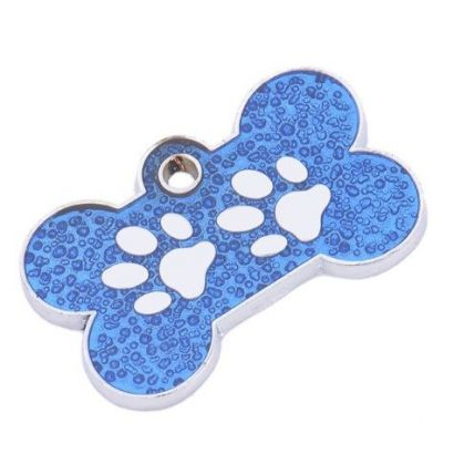 Psí známka z chirurgické oceli psí kost s tlapkami modrá