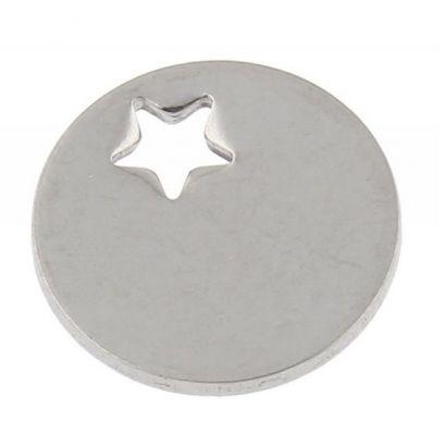 Ocelový přívěsek - mini kolečko s hvězdičkou