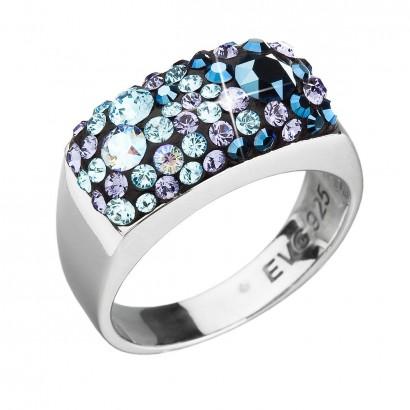 Stříbrný prsten s krystaly Swarovski modrý 35014.3 blue style