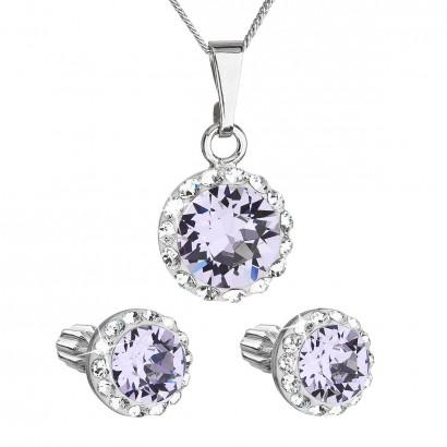 Sada šperků s krystaly Swarovski náušnice, řetízek a přívěsek fialové kulaté 39352.3 violet
