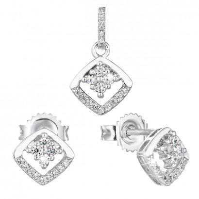 Sada šperků se zirkonem náušnice a přívěsek bílý kosočtverec 19025.1