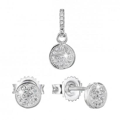 Sada šperků se zirkonem náušnice a přívěsek bílé kulaté 19028.1