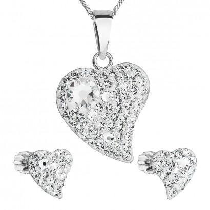 Sada šperků s krystaly Swarovski náušnice,řetízek a přívěsek bílé srdce 39170.1