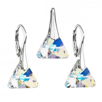 Sada šperků s krystaly Swarovski náušnice a přívěsek ab efekt trojúhelník 39174.2