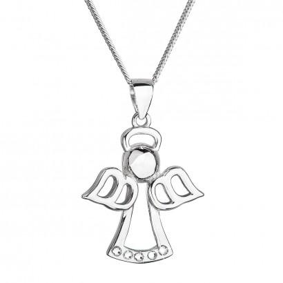 Stříbrný náhrdelník anděl se Swarovski krystaly bílý 32076.1