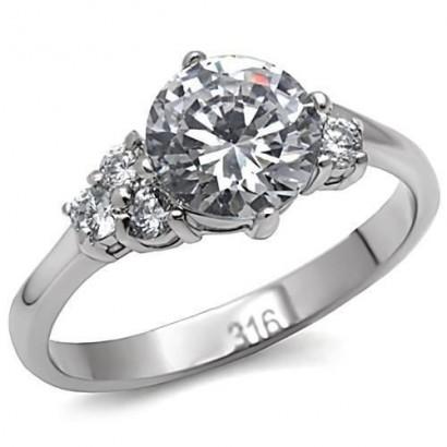 Ocelový prsten se zirkony (60)