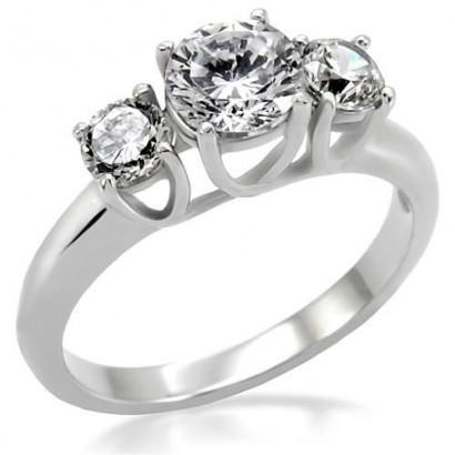Ocelový prsten se zirkony (57)