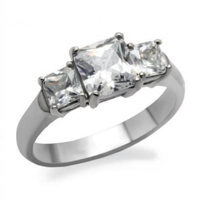 Ocelový prsten s hranatými zirkony (60)