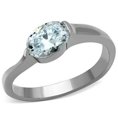 Ocelový prsten s oválným zirkonem (60)