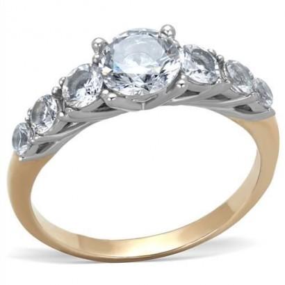 Ocelový prsten se zirkony (55)