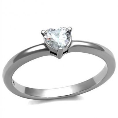 Ocelový prsten se srdíčkem (55)