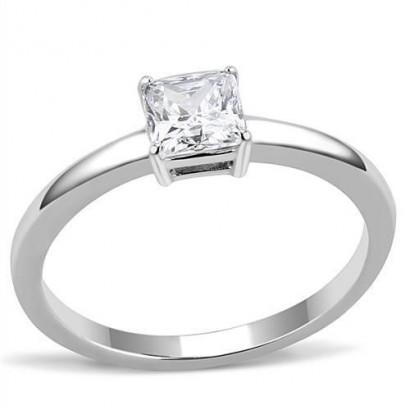 Ocelový prsten se čtvercovým zirkonem (60)