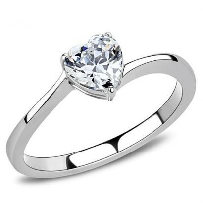 Ocelový prsten se srdíčkovým zirkonem (57)