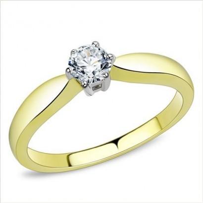 Zlacený ocelový prsten se zirkony (52)