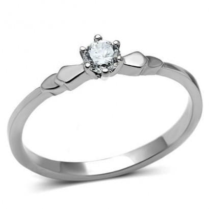 Ocelový prsten se zirkonem (60)