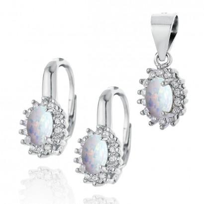 Stříbrná souprava šperků s opálem a zirkony