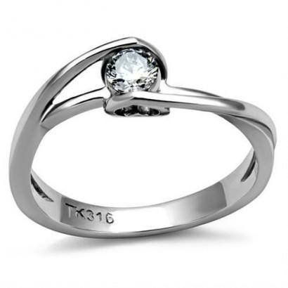 Ocelový prsten se zirkonem (54)