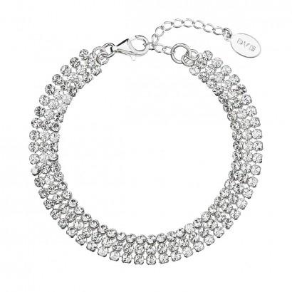 Stříbrný náramek bílý se Swarovski krystaly 73033.1