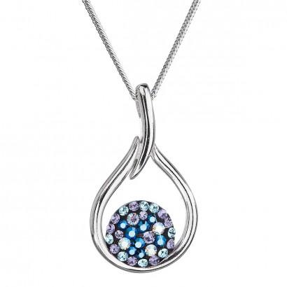 Stříbrný náhrdelník se Swarovski krystaly kapka 32075.3 blue style