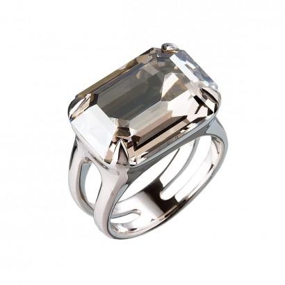 Stříbrný prsten s krystaly šedý 35806.5