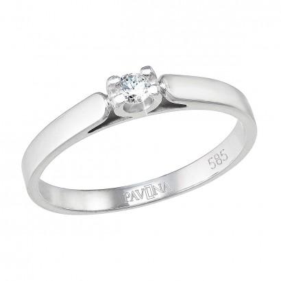 Zlatý prsten 85002.1 bílé zlato s briliantem