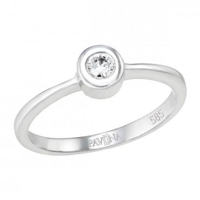 Zlatý prsten 85011.1 bílé zlato s briliantem