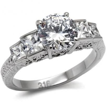 Ocelový prsten se zirkony (50)