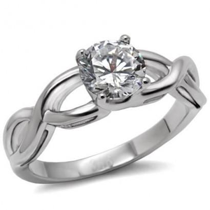Ocelový prsten se zirkonem (55)