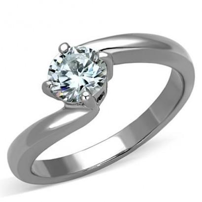 Ocelový prsten se zirkonem (57)