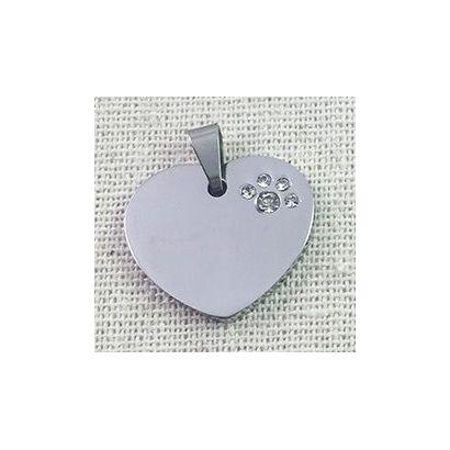 Přívěsek srdíčko z chirurgické oceli se zirkony