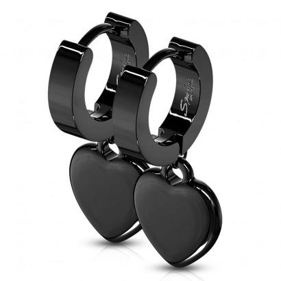 Černé ocelové náušnice - kroužky se srdíčky