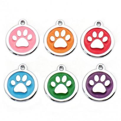 Kulatá psí / kočičí známka tlapka (růžová)