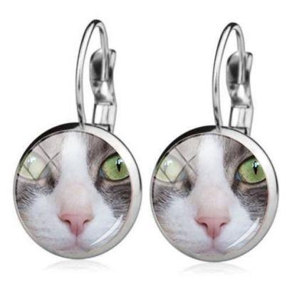 Ocelové náušnice zelenooká kočka